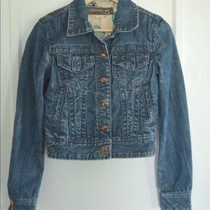 Anoname Crop Jean Jacket Cloud04 Medium Wash. Sz L